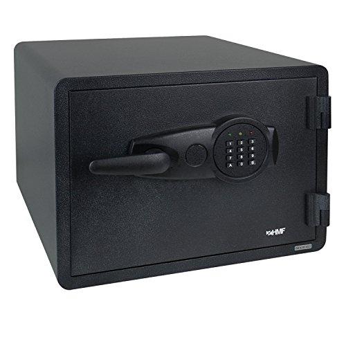 HMF 46153 Coffre-fort Ignifuge avec Serrure Électronique de Haute Sécurité, DIN A4, Imperméable, 60 Minutes 47,5 x 36,5 x 53,5 cm
