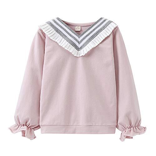 Oyedens Hochschulspitze-Uniform der Mädchen des College-Wind-T-Shirts Kleinkind-Säuglingsbaby-Mädchen-College-Art-Spitze-Lange ärmel-Lange -