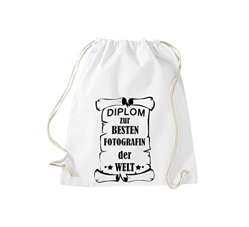 Shirtstown Borse palestra Diploma per migliore Fotografin mondo - blu, 37 cm x 46 cm bianco