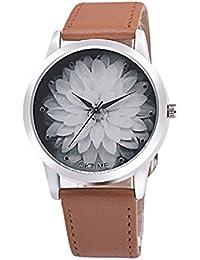 Relojes Mujer,Xinan Moda Flor PU Cuero Analógico Cuarzo Reloj de Pulsera (Marrón)