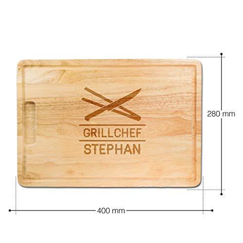 41TcLoSI8ML - Schneidebrett aus Holz mit persönlicher Gravur für echte Grillmeister, als Küchenbrett, Holzbrett, Schneidbrett, Brotzeitbrett, tolle Geschenkidee als Geschenk für Männer zum Grillen, Motiv Besteck, ca. 40,5 x 28,5 x 2 cm