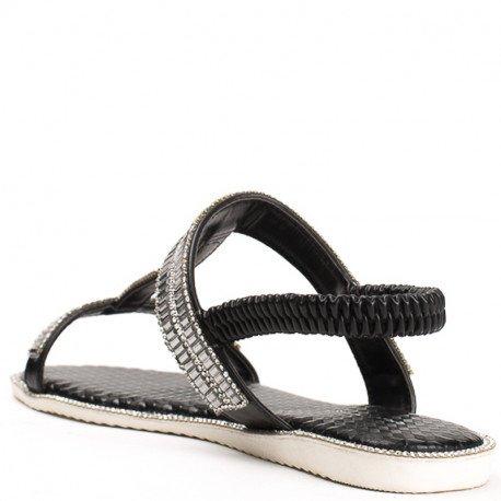 Ideal Shoes - Sandales plates avec bride incrustée de strass Talania Noir