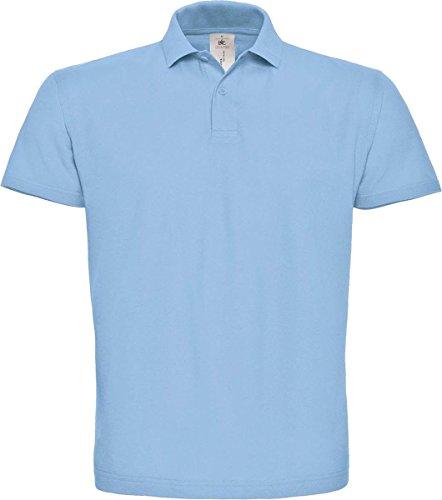 B & C ID. 001 Short Sleeve Polo Shirt Herren Casual Wear 2 Button Baumwolle