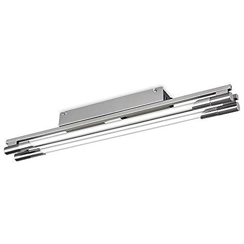 Modern Brushed Steel Flush Linear Fluorescent Light, 2 Bulb, Kitchen, (Casa Kitchen Flush Linear Fluorescent Light (650mm)), FL2338BSI4L |