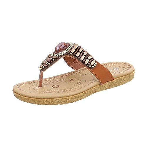 Zehentrenner Damen-Schuhe Zehentrenner Zehentrenner Ital-Design Sandalen & Sandaletten Camel, Gr 39, Ly7018-