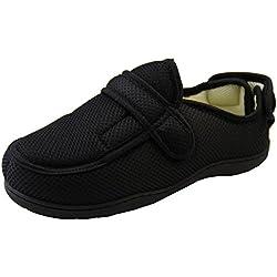 Footwear Studio Hombre Negro Malla Ajustable De Velcro Zapatillas Ortopédica EU 43-44