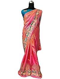 Mona Designer Women's Silk Saree With Blouse Piece(Paper Silk Saree)