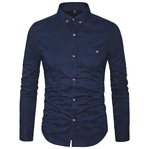 AIYINO Herren-Hemd – Slim Fit – Bügelfrei/Bügelleicht – für Business Freizeit Hochzeit (L Navyblau)