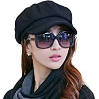 Ladies Newsboy Cabbie Beret Cap Bakerboy Visor Peaked Winter Ivy Flat Hat for Women (Black)