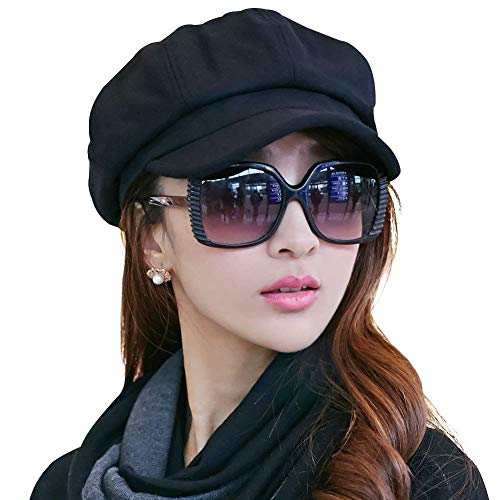 Ladies Newsboy Cabbie Beret Cap Bakerboy Visor Peaked Winter Ivy Flat Hat for Women (Black) -