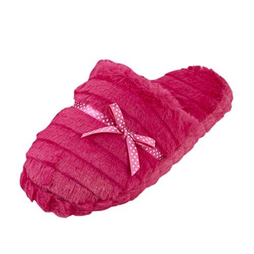 ladies-womens-mule-slippers-memory-foam-polka-dot-faux-fur-new-forever-dreaming