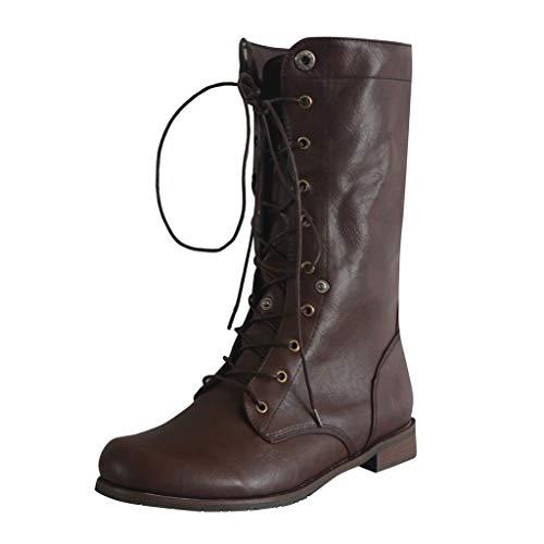 Fenverk Herren Schuhe/Damen Stiefeletten Worker Boots Mit Blockabsatz Metallic Profilsohle Flandell/Schuhe Herren Winter/Gothic/Winter Boots Herren Ge/Damen Boots(Braun Herren,44 EU)