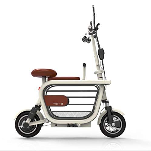 Hold E-Bikes Elektrisches Dreirad tragbares Mini-Klappfahrrad für Männer und Frauen, Geschwindigkeit 35 km/h, volle Ladung 70 km Reichweite, geeignet für Reisen und Freizeitaktivitäten@Weiß