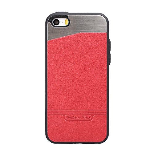 iPhone 7 Hülle Tasche Rückschale Bumper schutzhülle Aluminium iPhone 7 Schutzhülle Metall Hülle Hart Case mit Legierung Premium Ultra dünn PU Leder Schutz Case für iPhone 7 Stoßfest Staub Schmutzfeste Rot