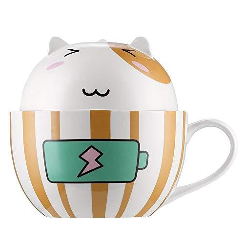 Happiness Creative Instant Nudelschüssel mit Deckel (englischsprachig), aus Keramik, niedliche Sofortnudelschüssel Reisschüssel, große Schüssel Suppenschüssel B