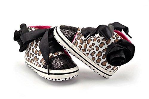 Hunpta Neue jungen Lauflernschuhe Kleinkind jungen Mädchen Leopard Pailletten Spleiß weiche Schuhe Flower Sneakers Schuhe (11, Schwarz) Schwarz