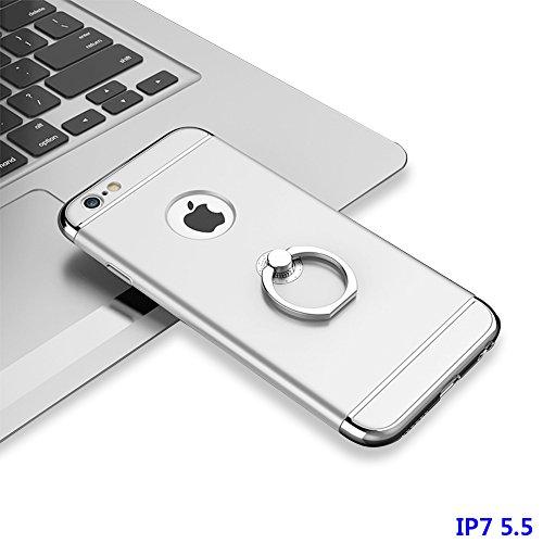 """Hülle für iPhone 7 Plus, xhorizon FM8 3 in 1 Ultra Dünn Hart Schützend Stilvoll Case für iPhone 7 Plus [5.5""""] mit 360 Grad Drehbar Ring Ständer Mit einem 9H gehärtetem Glasfilm Silber Mit einem 9H gehärtetem Glasfilm"""