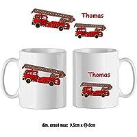 Texti-cadeaux-Mug camion Pompier-personnalisé avec un prénom exemple Thomas