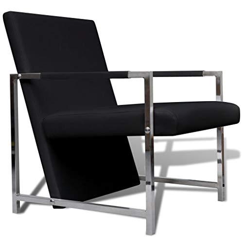 Fzyhfa poltrona cubo nera di alta qualità con piedi in cromo design unico, comodo, confortevole e bello, robusto e resistente. poltrona relax reclinabile poltrona relax