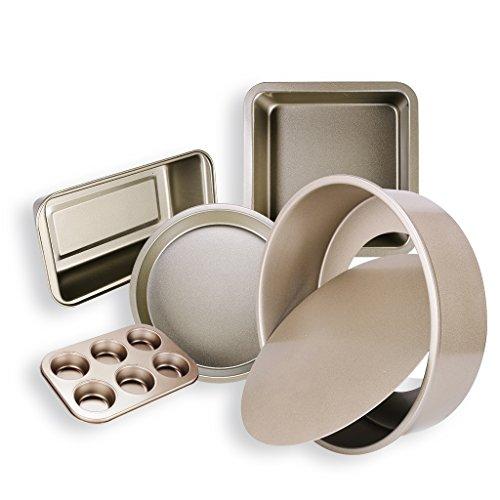 Nonstick Backformen 5-Pieces / Set Pfannen Kohlenstoffstahl Metall einschließlich Springform Pan Muffin Pfannen Platz Backform Pizza Tray Loaf Pan FDA genehmigt BPA frei