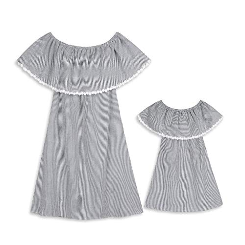 Cooljun Mommy & Me Mama & Baby Eltern-Kind-Kleid Schulterfrei Quaste gestreifte Familie passende Kleid Kleidung