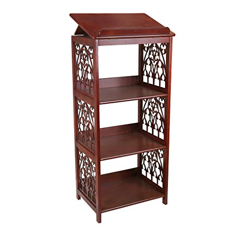 Design toscano san tommaso d'aquino decorazione gotica espositore per librerie in legno, legno massello, fintura color noce, 109,25 cm