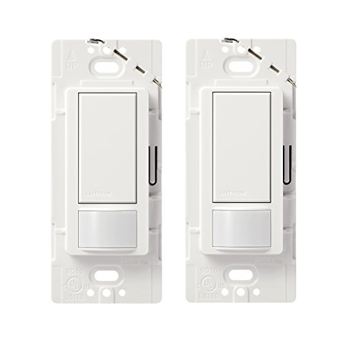 Lutron MS-OPS2H-2-WH Maestro 2 Amp Single Pole Occupancy Sensor Switch (2 Pack), White by Lutron
