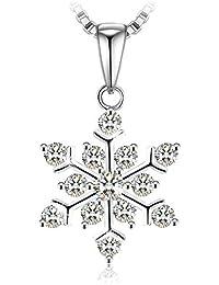 Regalo Navidad Collar Mujer, J.Rosée Plata de Ley 925 Brillante Circonita ''Palmeras en la Nieve'' Regalo Original para Navidad