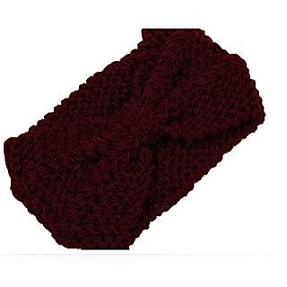 Ayouyou Europa Neue Frauen Winter warm Strick Stirnband Damen Warme Stirnbänder Mädchen Knit Cable Stirnband Hairband für Outdoor Wintersport (Rotwein)