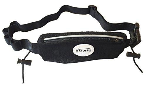It's running Hüfttaschen-gurt Race Pocket Belt Gel mit Gelschlaufen und Startnummernbefestigung, Black, One Size