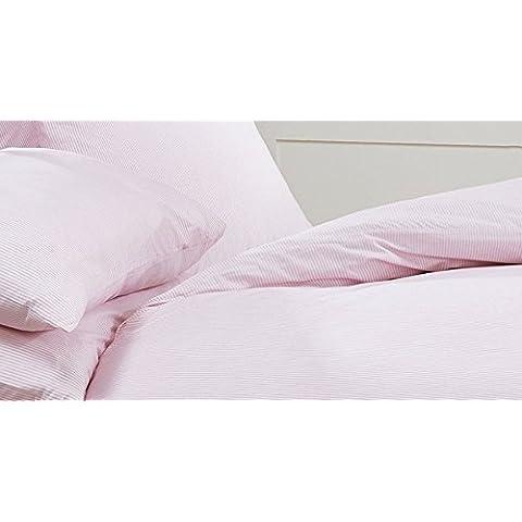 Louisiana ropa de cama rosa y blanco juego de funda de edredón de rayas negras 100% algodón 200hilos, rosa/blanco, Par de fundas de almohada extra