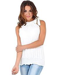 KRISP Top Mujer Fiesta Vestir Elegante Ancho Blusa Camiseta