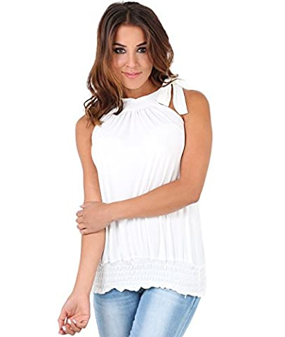 7571-CRM-20: Halter Neck Draped Ruched Top Blouse Flattering Bow Tie Summer Party Evening