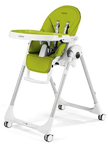 Grün Peg (Peg Perego Prima Pappa Follow Me - Mela - Hochstuhl mit Baby-Liegefunktion und 4 Doppelrollem mit Bremsen, Lederimitat-Bezug, grün)