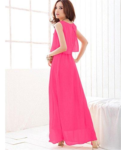 YOGLY Sommer Strandkleid Chiffon Ärmellos Boho Dünn Damen Kleid Maxi Kleid Lange Kleid Elegant Dress Bodenlang Kleider Abend Kleider Cocktailkleid Partykleid Rose Red