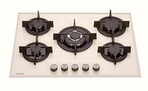 Millar GH7051PM Plaque de cuisson en Verre trempé avec 5 brûleurs à gaz Beige/Crème 70 cm/Table de Cuisson