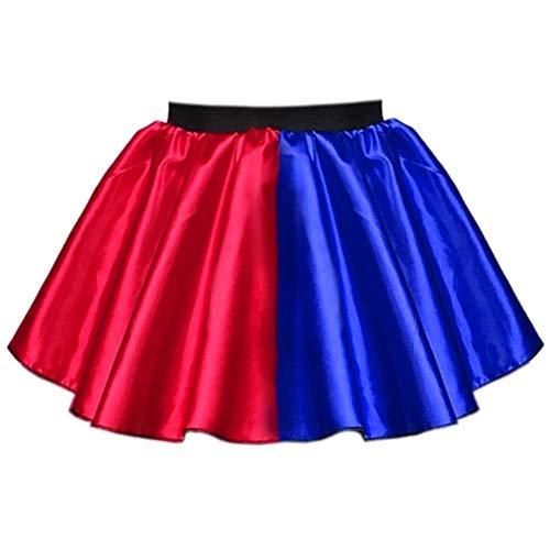 Harley-Rock für Damen, Rot / Blau, 4 Stile - Harlekin-Super-Bösewicht, Halloween-Kostüm Gr. 36, Roter Satin-Rock, Blau