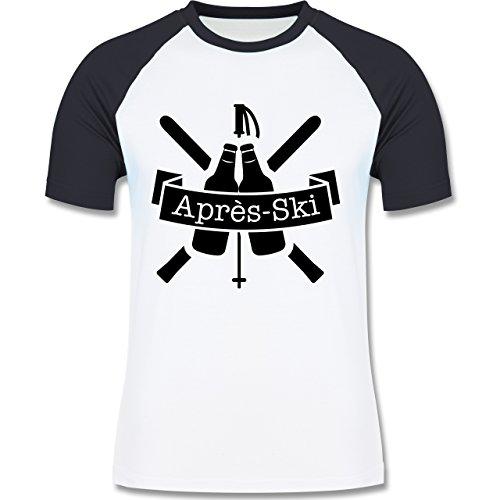 Après Ski - Après Ski Bierflaschen - zweifarbiges Baseballshirt für Männer Weiß/Navy Blau