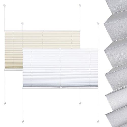 EUGAD PS5601ws, Plissee Klemmfix ohne Bohren Jalousie Faltrollo abdunkelnd , Rückseite mit Lichtstop Beschichtung , Thermo Rollo verspannt Sichtschutz Sonnenschutz für Fenster & Tür , 85x130 cm , Weiß