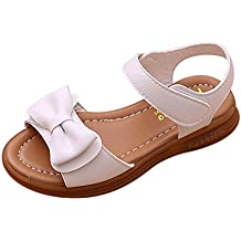 Topgrowth Sandali per Bambina Eleganti Sandali Punta Aperta Sandali Romani Ragazze Velcro Sandali Bimba Partito Principessa Scarpe (23, Bianca)