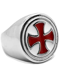 BOBIJOO Jewelry - Bague Chevalière Homme Classique Ronde Acier INOX Templier  Croix Pattée Rouge 16e560d27f6a
