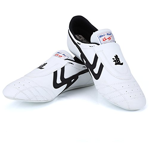 Alomejor Zapatos de Taekwondo Artes Marciales Zapatilla de Boxeo Karate Kung Fu Tai Chi Zapatos Zapatillas de Rayas Negras Zapatillas Ligeras(39)