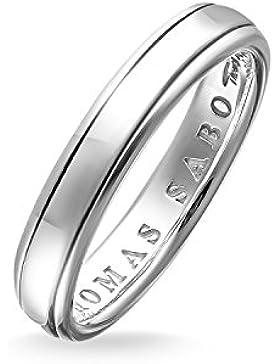 THOMAS SABO Unisex Bandring Ring 925er Sterlingsilber, Geschwärzt TR1998-001-12