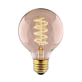 Amzdeal edison ampoule de tungst ne e27 filament vintage g80 40w lampe incandescence classique - Lampe a incandescence classique ...