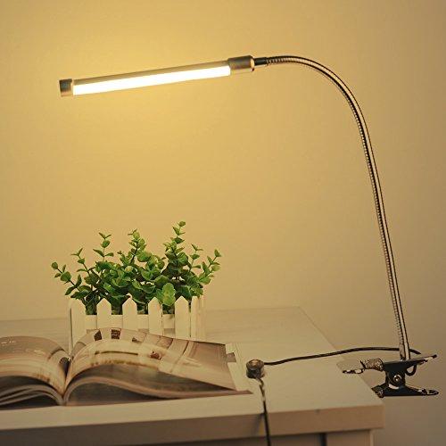 LED Klemmleuchte USB Dimmbar Bett Leselampe Schwanenhals Klemmen Bettleuchte 10W Klemmlampe Augenschutz 36 LED mit 10 Helligkeitstufe