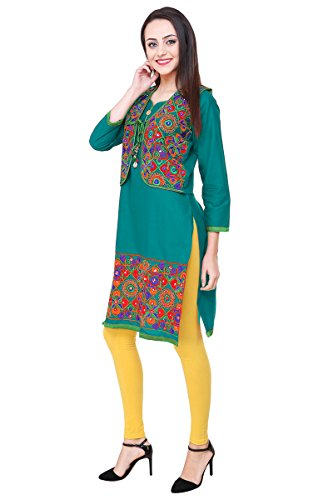 Vastraa Fusion Rama Green Cotton Kurti with Embroidered Multicolored Jacket - XXX...
