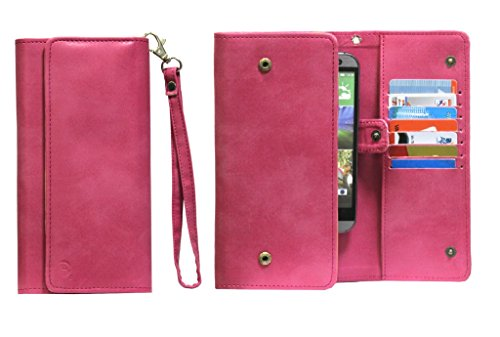 J Cover A13 Nillofer Leather Wallet Universal Phone Pouch Cover Case For Samsung Galaxy Grand 2 SM-G7102 with dual SIM card slots Pink