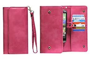 J Cover A13 Nillofer Leather Wallet Universal Phone Pouch Cover Case For Alcatel One Touch Pop C3 Pink