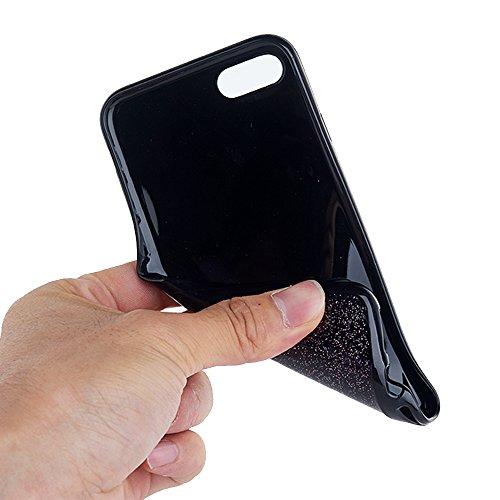 Silikonhülle für iPhone 6s, Black Crystal Design CLTPY iPhone 6 Handytasche Kreativ Ultrathin Glitzer Glänzend Liebe Motiv Softcase für Apple iPhone 6/6s + 1 x Stift - Silber Herz Rose Rosa Herz