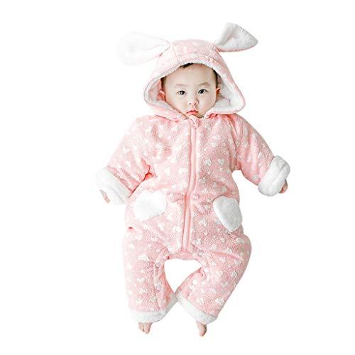 Livoral Baby Winterjacke Neugeborenes Baby Baby Boy Floral Rüschen Einteiliges Jumpsuit Jumpsuit Jumpsuit Set(Rosa,12-18 Monate)